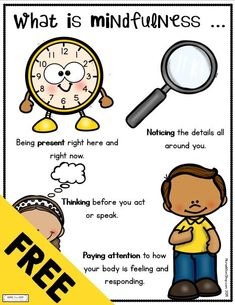 FREE printables for kids and teachers and parents - practice mindfulness with kids - mindful Elementary School Counselor, Elementary Education, School Counseling, Childhood Education, Group Counseling, Emotional Child, Social Emotional Learning, Coping Skills, Social Skills