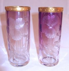 Moser Art Nouveau Hand Cut Spill Vases With Dog Rose Design And Gilded Rims, Clear-Crystal Glass Has An Inner Casing Of Amethyst Shading From Clear At the Bottom Of The Vase To A Deeper Color At The Rim     c.1895