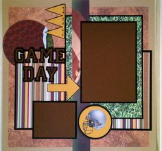 Game Day football 12x12 premade scrapbook layout by ohioscrapper, $15.00