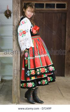 Portrait of young woman in Mazovia national costume, a Polish folk costume Stock Photo Folklore, Russian Love, Ethnic Outfits, Ethnic Clothes, Costumes Around The World, Folk Clothing, Arte Popular, Celtic Designs, Folk Costume