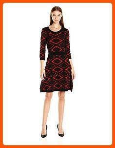 Taylor Dresses Women's Diamond Jacquard Fit and Flare Sweater Knit Dress, Brick Black, XL - All about women (*Amazon Partner-Link)