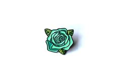 "Image of ""Teal Rose"" Lapel Pin Pin And Patches, Iron On Patches, Bag Pins, Jacket Pins, Cool Pins, Pin Badges, Lapel Pins, Pin Collection, Teal"