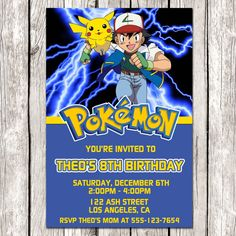 Pokemon Electronic Birthday Invitations Personalized Invitation Templates Party