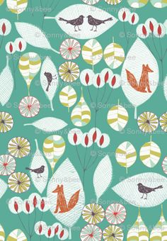 woodland fox fun fabric by bethan_janine for sale on Spoonflower - custom fabric, wallpaper and wall decals