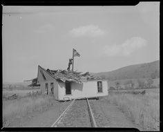 House blown onto railroad tracks, Hurricane of 38. Boston Public Library via Flickr.