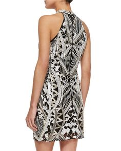 TAD7V Parker Pascilina Geometric-Beaded Sheath Dress, Ivory/Black