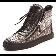 giuseppe zanotti sneakers Authentic Python metallic giuseppe zanotti sneakers size 37 1/2 comes with dustbag worn a few times still in good condition Giuseppe Zanotti Shoes Sneakers