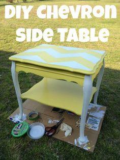 DIY Chevron Side Table