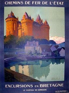 """""""Excursions en Bretagne, le château de Combourg"""" – 1920 - illustration de Henry de Renaucourt -"""