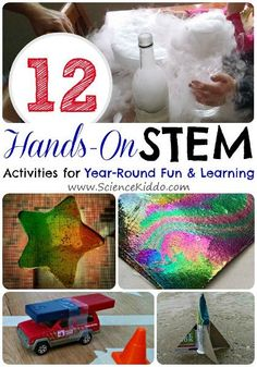 This round up of the most popular hands on science activities from The Science Kiddo includes 12 hands on science activities for kids to do year-round!