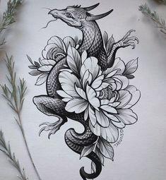 Sasha Tabuns в Instagram: «🐲 свободный дружок 🐲» Dainty Tattoos, Love Tattoos, Beautiful Tattoos, Black Tattoos, Girl Arm Tattoos, Body Art Tattoos, Dragon Tattoo With Flowers, Train Tattoo, Traditional Tattoo Flowers