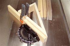"""Attaching a triangular jig to your miter gauge enables you to safely cut shallow angles, or any angle beyond the normal range of the miter gauge.  The jig is just a 30-60-90 triangle made from 3/4"""" MDF, fastened with glue and countersunk screws. To cut the jig's two 30° angles, tilt your saw's blade and cut the parts flatwise. Screw a backer board to your miter gauge to provide clamping support for the jig. Be sure to clamp your workpiece to the jig."""