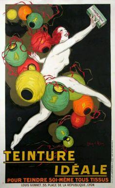Vintage Teinture Ideal dye, dancer with paper lanterns, poster reprint. Vintage Advertisements, Vintage Ads, Vintage Posters, Retro Ads, Poster Ads, Poster Prints, Art Prints, Illustrations, Illustration Art
