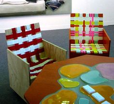 Woven chairs by Mary Heilmann