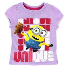 Despicable Me Minions Toddler Girls Short Sleeve Tee www.YankeeToyBox.com #YankeeToyBox #Tees #Fashion #ValetinesDay