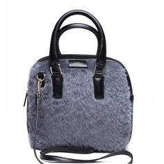 Fashion Leather Warm Woolen Handbag Shoulder Bag Light Grey