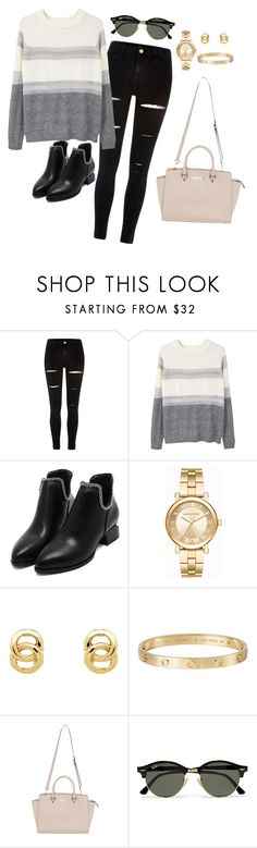 """""""Outfit 324"""" by caa123 ❤ liked on Polyvore featuring River Island, MANGO, Michael Kors, Monet, Cartier and Ray-Ban"""
