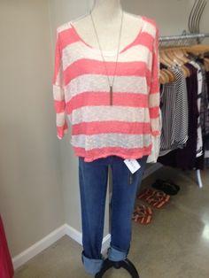 New lightweight knit sweater!!! #stripes #sweater #summer #spring #fall #staple #bestseller #knit #beachwear #style #fakingitflawless