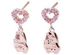 My Melody Heart-Shaped Pierced Earrings Pink Gold Rhinestone SANRIO JAPAN