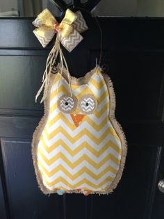 Burlap Owl Door Hanger With Yellow Chevron by WildBDesigns on Etsy, $40.00