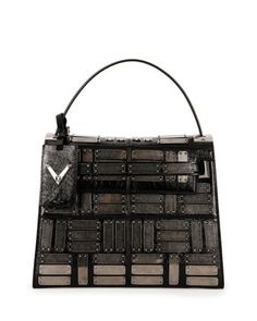 My+Rockstud+Leather+Satchel+Bag,+Black+by+Valentino+at+Neiman+Marcus.