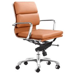 This executive Zuo Modern Director office chair is refreshingly different with its warm terracotta leatherette cover. Boudoir, Contemporary Office Chairs, Contemporary Design, Suppose Design Office, Brown Accent Chair, Movie Chairs, Wicker Dining Chairs, Desk Chairs, Blue Chairs