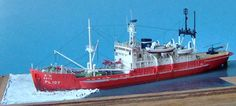Hasegawa's 1/350 scale Antarctica observation ship Soya with a Hasegawa photoetched-metal set. - Mike Taylor