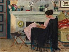 View Interior with a woman reading at the fireplace by Ebba Holm on artnet. Browse upcoming and past auction lots by Ebba Holm.