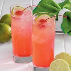 Bottoms-Up Cherry Limeade ~ It's just right on a hot southern summer evening. And it's pretty, too.