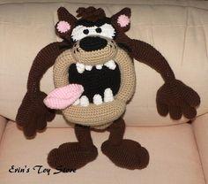 Tasmanian Devil a Crochet Pattern by Erin Scull Minion Crochet Patterns, Disney Crochet Patterns, Amigurumi Patterns, Knitting Patterns, Crochet Beard, Wonderful Day, Tasmanian Devil, Loom Knitting, Toy Store