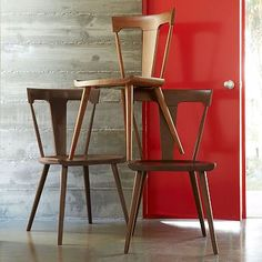 Splat dining chairs from west elm. Would be great with a contemporary seat cushion....need that comfort.