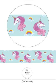Diy 종이 일본어 와시 마스킹 테이프 귀여운 말 유니콘 장식 접착 테이프 스크랩북 15 미리메터 * 10 메터 alideco