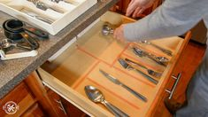 Learn how to make a custom wooden drawer organier with only 4 affordable tools. Diy Drawer Dividers, Diy Drawer Organizer, Kitchen Drawer Organization, Diy Kitchen Storage, Kitchen Drawers, Drawer Organisers, Wooden Drawers, Diy Drawers, Kitchen Gadgets