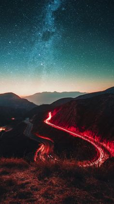 Wallpaper Iphone - Road in the starry night - Wallpaper World Galaxy Wallpaper, Nature Wallpaper, Lockscreen Wallpaper Android, Iphone Wallpapers, Starry Night Wallpaper, Landscape Photography, Nature Photography, Photography Pics, Mysterious Universe