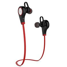 Bapdas V41 Bluetooth Headset Wireless Sport Stereo Noise Cancelling InEar Sweatproof Earbuds with APTXMic for iPhone 6s Plus Samsung GalaxyS7 S6 S5 and Android Phones Red -- Continue to the product at the image link.