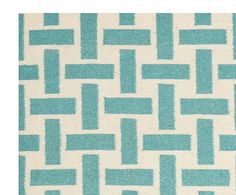 Alfombra durrie artesanal Lesley, turquesa y marfil - 152x243 cm