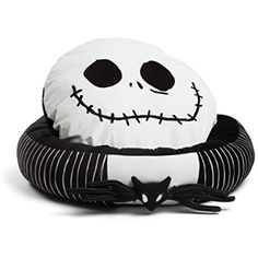 """Disney Nightmare Before Christmas Jack Skellington Bolstered Round Bumper Dog Bed / Cat Bed with Removable Toy Bat (includes squeaker), Reversible Insert, Dirt/Water Resistant Bottom, 24""""x24""""x7"""" * Check out the image by visiting the link. (This is an affiliate link) #SmallAnimals"""