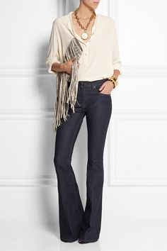 Victoria Beckham Denim Flare high-rise jeans NET-A-PORTER.COM