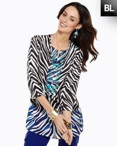 Black Label Zebra Embellished Tunic  Style: 570070929