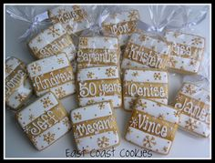 Could do polka dots or hearts instead of snowflakes. These were used as placecards for a 50th wedding anniversary party. 50th Anniversary cookies by East Coast Cookies, via Flickr