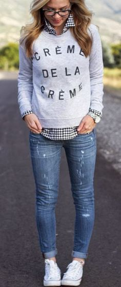 Collared shirt, cute sweatshirt and boyfriend jeans = genius
