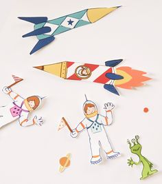 Rocket ship figures - could make as magnets and use during school time - creative story telling idea