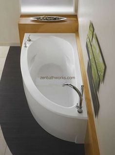 Bathroom Corner Soaking Tub With Jet : Bathroom Soaking Tub With Jets. add a relaxing new element to your daily routine with a soaking tub. soaking tub design ideas,soaking tub images,soaking tub pics,soaking tub pictures,soaking tub with jets Corner Soaking Tub, Corner Tub, Small Soaking Tub, Small Corner Bath, Corner Space, Bad Inspiration, Bathroom Inspiration, Contemporary Bathtubs, Steam Showers Bathroom