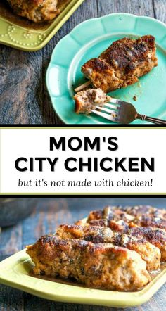 Mom's City Chicken Recipe - An easy family favorite weeknight dinner! - Mom's City Chicken Recipe – this is a regional favorite and easy family weeknight dinner. Chicken Recipes At Home, Shredded Chicken Recipes, Grilled Chicken Recipes, Pork Recipes, Easy City Chicken Recipe, Polish City Chicken Recipe, Healthy Recipes, Entree Recipes, Dinner Recipes For Kids
