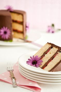 Layer cake de chocolate y fresas