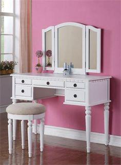 White Vanity Table | Make Up Vanity Table For Women Girls