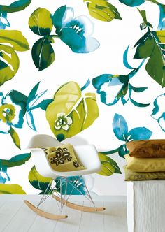 This oversize botanical print would be great for an accent wall in a sun room.