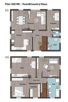 Grundrisse Stadtvilla Mit Walmdach   5 Zimmer, 149 Qm Wohnfläche, Küche  Separat, Treppe