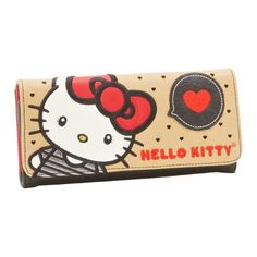 Big Bow And Hearts Wallet, $35, now featured on Fab. [Hello Kitty, Sanrio, Loungefly]