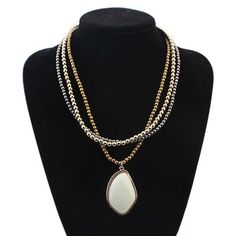 2015 New Fashion Vintage Multilayer Necklace Gold Beads Chain Necklace Women Collar Piedra Natural Gem Stones Jewelry Zora